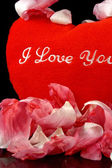 Corazón rojo con flores - verticales — Foto de Stock