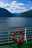 Fjord seen from boat deck — Stock Photo