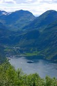 Panoramic View Geiranger Village - Horizontal — Stock Photo