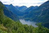 Panoramic View Geiranger Village - Vertical — Stock Photo