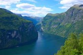 Panoramic View Geiranger Fjord - Horizontal — Stock Photo