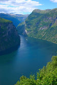 Panoramic View Geiranger Fjord - Vertical — Stock Photo