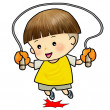 Cute boy jump with skipping rope - Stock Photo