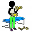 Working out with dumbbell in gym — Stock Photo