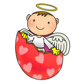 Cute angel birth from egg shell — Stock Photo