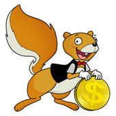 Squirrel with a coin — Stock Photo