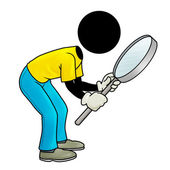 Looking through his magnifying glass — Stock Photo