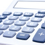 calculatrice sur fond blanc — Photo