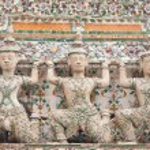 Giant statues around the stupa base. — Stock Photo #5297476