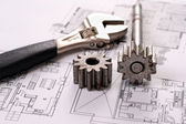 Tools on Blueprints including sprocked stacks and monkey wrench. — Stock Photo