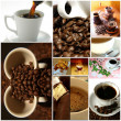 Stock Photo: Coffee collage separated with a white line.