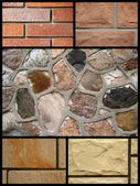 Collage of stone brick — 图库照片
