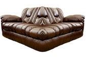 Brown Leather Sofa — 图库照片