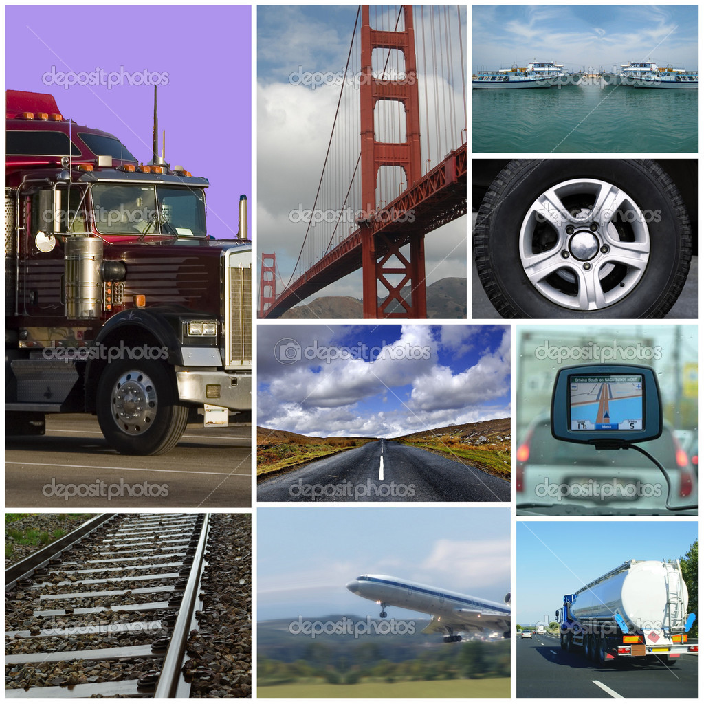 Transport themed collage or collection with different types of transport: trucks, airplane, car, boat, train. — Stock Photo #4062008