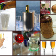 Champagne collage — Stock Photo