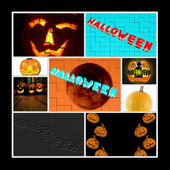 Halloween 9 Photos Collage — Stock Photo