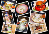Collage with plates and cups — Stock Photo