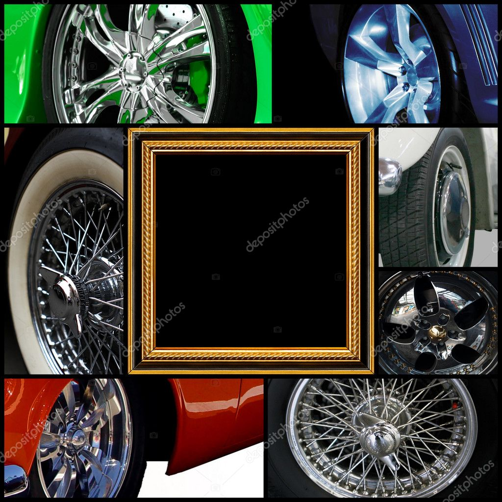 Isolated collection of different wheels otsportivnyh Car — Stock Photo #4217922