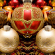 Stock Photo: Colorful decorative Christmas candle and ornaments