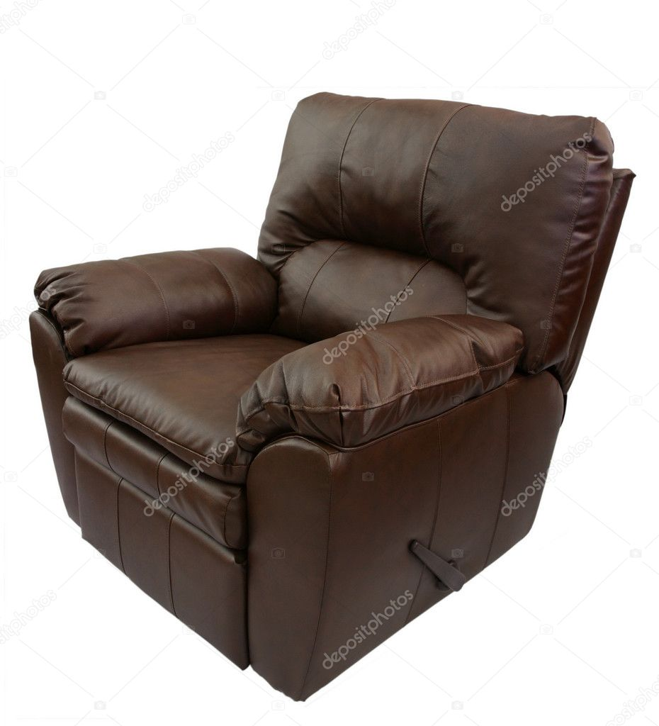 Broun leather armchair isolated on a white background.  Stock Photo #4784266
