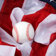 Baseball and flag - Stock Photo