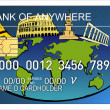 Credit card with world icon - Stock Photo