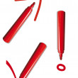 Red pen writing signs — Stock Photo