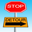 Stop roadsign with detour sign - Stock Photo