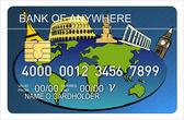 Carta di credito con l'icona del mondo — Foto Stock