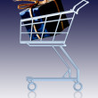 Gift in a shopping cart — Stock Photo #5240272