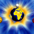 Sport world,earth surrounded by sport balls — Stock Photo