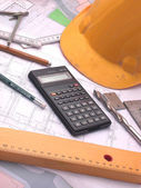 Plans and building equipment — Stock Photo