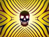Neon skull yellow — Stock Photo