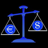 Balance with dollar and euro — Stock Photo