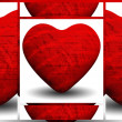 Collage of red shiny hearts — Stock Photo