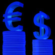 Diagram euro and dollar - Stock Photo