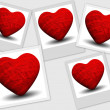 Collage of red shiny heart — Stock Photo