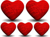 Collage of red shiny hearts — Foto Stock