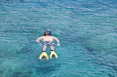 Man in flippers snorkeling in blue sea in Cyprus — Stock Photo