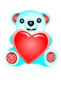Bear with heart — Stock Vector