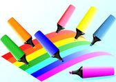 Marcadores y líneas de colores — Vector de stock