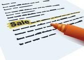 """Napis """"sprzedaż"""" i znacznik — Wektor stockowy"""
