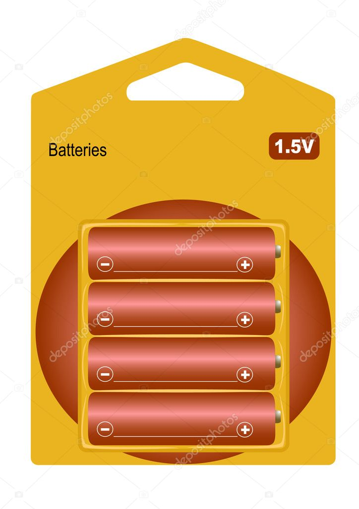 Set from 4 batteries 1.5 v in packing — Stock Vector #5167126