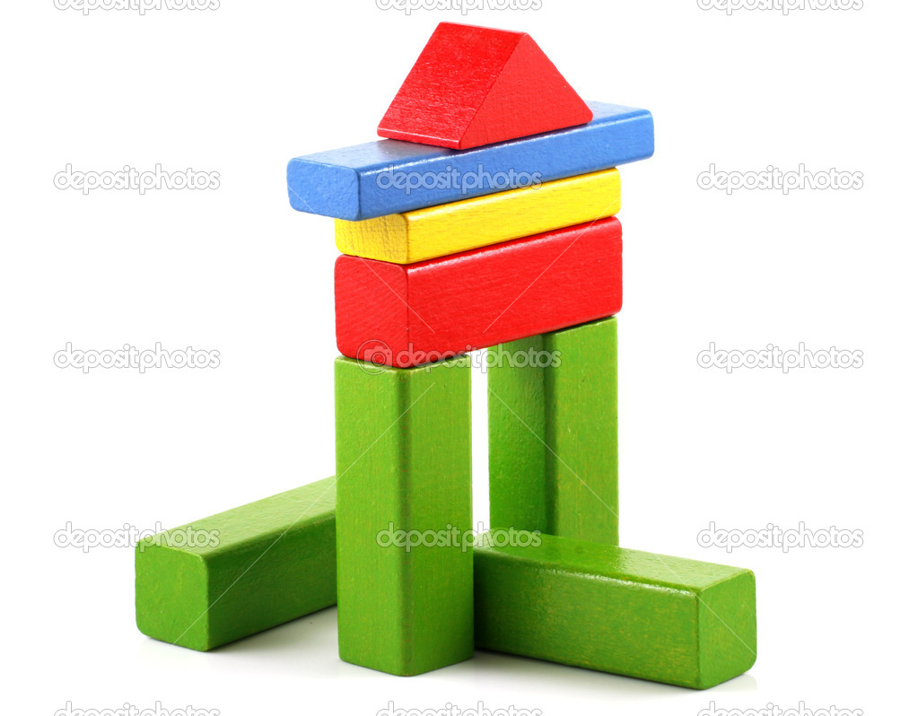 Wooden building blocks on white background — Stock Photo #4443236