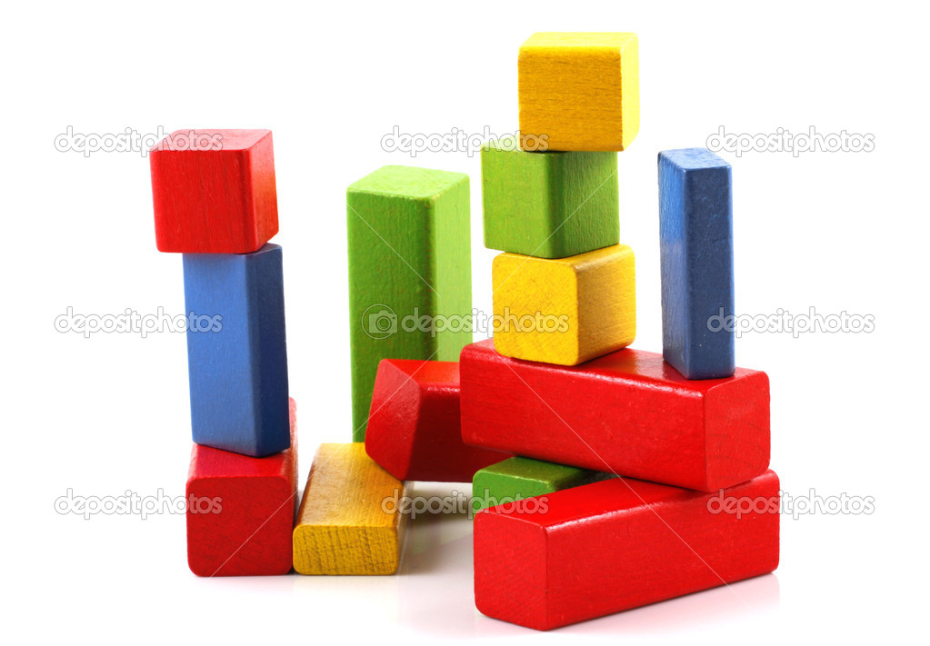 Wooden building blocks on white background — Stock Photo #4443253