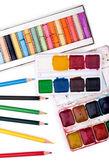Aquarel, potlood en pastel kleuren — Stockfoto