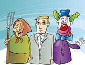Farmer woman, businessman and clown — Stock Vector