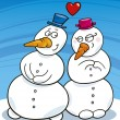 Snowman in love — Stock Vector
