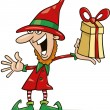 Christmas elf with special gift - Stock Vector