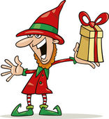 Christmas elf with special gift — Stock Vector